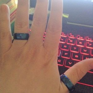 Jewelry - Sale Blue stainless steel ring set 8mm sz 7 /11